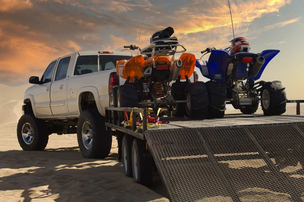 Pickup truck with trailer and motors